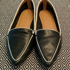 J. Crew Black and White Pointed Loafers